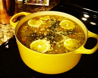 Shortcut Lemon Rosemary Chicken Soup